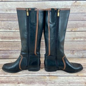 Anne Klein Leather Cybele Tall Black Riding Boots